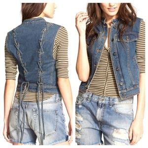 Free People Rugged Ripped Lace-up Denim Vest